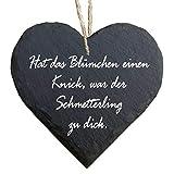 Homeyourself Herz Schieferherz Schiefer Schieferschild 10 x 10 cm Haussegen schwarz Dekoschild Wandschild Schild Stein Garten Gartenschild