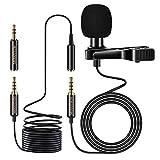 MOSOTECH Lavalier Mikrofon, Omnidirektional Kondensator Ansteckmikrofon mit 2m Verlängerungskabel, Externes Clip-on Microphone für Smartphone Handy/iPhone/Tablet/Kamera