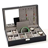 Crystalzhong Dislpay Box Organizer für Uhren, Ringe, Halsketten, Ohren, Nägel, Mehrzweck-Aufbewahrungsbox