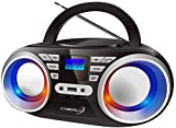 Tragbarer CD-Player | LED-Discolichter | Boombox | CD/CD-R | USB | FM Radio | AUX-In |...