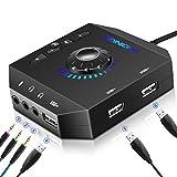 USB Soundkarte Extern, PHOINIKAS Externe Soundkarte mit verstellbarem Volume, Audio Adapter mit 3.5 mm Kopfhörer und Mikrofon Jack, USB Hubs für Windows, Mac, PC, Laptop, PS4-6 in 1