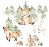 Pandawal Wandtattoo Waldtiere Bär Fuchs Hase Wandaufkleber Kinderzimmer Deko Wandbilder Tiere Babyzimmer Wanddeko (L)