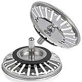 QLOUNI edelstahl Küchenspüle Sieb, 2 Stück Abfluss Sieb, Küchenspüle Stopper Ø 84mm, Siebkörbchen mit Zapfen (20 Schlitze) für Ablauf-Ventils in Küchenspülen