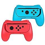 Fintie Grip Kompatibel mit Switch/Switch OLED Modell Joy-Con - [2 Stück] Ergonomisches Design Verschleißfeste Komfort Griff Kit Griffhalter Kompatibel mit Switch Konsole Joy-Con Controller, Rot/Blau