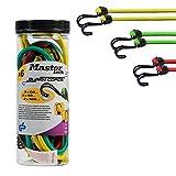 MASTER LOCK 6x Spanngummi-set [Umgekehrter Doppelhaken] - 3040EURDAT - 3 Farben Spanngurte mit haken - Gepäckspanner.