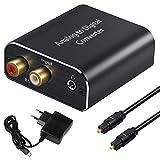 Analog Digital Wandler, Tihokile Stereo Cinch RCA R/L zu Toslink-Koaxial-Audio Adapter mit Optischem Kabel und Netzteil, Kompatibel mit Lautsprecher Verstärker Heimkino
