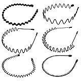 6 Stück Unisex Schwarz Welle Metall Stirnband Haarbänder Haarreifen Haarschmuck Stirnband Zubehör-Schwarz Für Männer Frauen