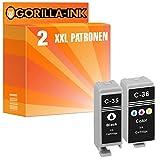 Gorilla-Ink 2 Patronen-Set XXL kompatibel mit Canon PGI-35 CLI-36   Für Canon Pixma IP 100V 110 + Battery 100 Portable 110 Series TR 150
