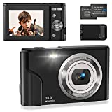 Digitalkamera 1080P, Fotokamera Kompaktkamera 36MP 2,4' LCD mit 16X Digitalzoom,Akkuladegerät und Wiederaufladbare Batterien für Studenten/Kinder/Amateure/Anfänger(Schwarz)