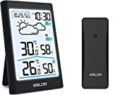 BALDR Wetterstation Funk mit Außensensor, Digital Thermometer Hygrometer Innen und Außen Raumthermometer Hydrometer Feuchtigkeit mit Wettervorhersage, Uhrzeitanzeige, Wecker und Nachtlicht (Schwarz)