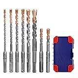 WORKPRO Hammerbohrer-Set SDS plus bohrer set inkl. 8 Beton- & Steinbohrer im Aufbewahrungskoffer, Hartmetall Spitze, Ø 5/6 /7/8 /10/ 12mm