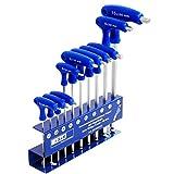 S&R Innensechskantschlüssel Satz HX, T-Griff, mit Kugelkopf, Werkzeughalter aus Metall,10-tlg: 2 mm - 10 mm, metrisch