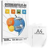 10 Blatt Overheadfolie PEMIUM - DIN A4 transparent - Für Laserdrucker, Kopierer - OHP Folien extra...