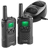simvalley communications Walkie Talkies: 2er-Set Akku-PMR-Funkgeräte mit VOX, bis 10km Reichweite,...
