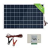 ECO-WORTHY 12V 10W Sonnenkollektorsystem: Polykristallines PV-Panel mit 3 Draht- und 30A-Batterieklemmen