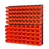 94 Elementen Wandregal | 50 Stapelboxen Orange Gr. 1 POP Serie, 40 Stapelboxen Orange Gr. 2