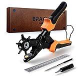 BRAAVE Lochzange für Leder, Lederlocher Set mit Zange + Schleifstab + Schraubenzieher + Ersatzplatten + Druckknöpfe + Metalllinieal, für 2-4,5 mm Lochgröße