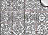 Tile Style Decals 24 stück Mosaik Wandfliese Aufkleber für 10x10cm Fliesen Fliesenaufkleber für Bad und Küche | Deko Fliesenfolie für Bad u. Küche (T1Grey)