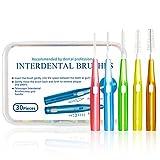 Interdentalbürsten für 30 Stücke mit 5 Farben, 0.6-1.5mm Xpassion Interdental Brushes, EasyPick, Dental Stick, gründliche Reinigung der Zahnzwischenräume