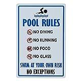 dojune - Pool Rules Schild mit Aufschrift 'No Diving No Running No Food No Glass', einfach zu montieren.