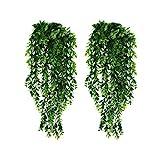 KingYH 2 Stück Künstliche Hängende Pflanzen Künstlich Efeugirlande Lang Grüne Plastikpflanzen für Draussen Innen Äußer Balkon Wand Topf Hochzeit Garten Deko