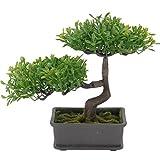 Bonsai-Baum im Topf Kunstpflanze Dekopflanze Kunstbaum künstlicher Variante C