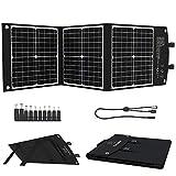 ELECAENTA 60W Faltbar Solar Ladegerät Tragbarer ETFE monokristallinem Solarpanel Type-C PD18W USB QC3.0 DC für Solargeneratoren Powerstation Outdoor Camping Wasserdicht