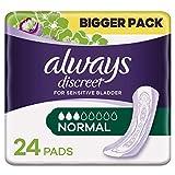 Always Discreet Inkontinenz Einlagen Normal Bei Blasenschwäche Vorteilspack, 1er Pack (1 x 24 Stück)