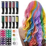 Haarkreide für Mädchen, Kastiny 10 Stück Haarfarbe Kamm, Temporär Haarfarbe Kreide Kamm für Kinder Haarfärbemittel, Party und Cosplay, mit 4 Glitzertuben & 32 Schablonen