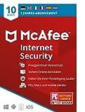 McAfee Internet Security 2021   10 Geräte   1 Jahr   Antivirus Software, Virenschutz-Programm, Passwort Manager, Mobile Security  PC/Mac/Android/iOS  Europäische Ausgabe Per Post