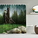 RUBEITA Personalisierter Duschvorhang,Steinburg Grüner Wald Drachenbäume Wiese Weißes Gänseblümchen,wasserabweisender Badvorhang für das Badezimmer 180 x 210cm