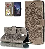 LEMAXELERS Nokia 1.3 Hülle,Für Nokia 1.3 Handyhülle Prägung Mandala-Blume Flip Case PU Leder Magnet Schutzhülle Tasche Ständer Handytasche für Nokia 1.3,LD Mandala Gray