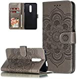 HMTECH Nokia 3.2 Hülle,Für Nokia 3.2 Handyhülle Prägung Mandala-Blume Flip Case PU Leder Cover...