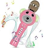 i-Star Karaoke Mikrofon Kinder, Drahtlose Kindermikrofon Bluetooth, Tragbar mit 5W Lautsprecher, Magic Voice Soundeffekte und LED-Leuchten