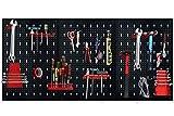 HENGMEI Werkzeuglochwand Werkzeugwand aus Metall mit 17tlg. Hakenset 120 x 60 x 2 cm Lochwand für Werkstatt