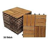 SAM Terrassenfliese 02 aus Akazien-Holz, FSC 100% Zertifiziert, 33er Spar-Set für 3 m², Garten-Fliese in 30 x 30 cm, Bodenbelag mit Drainage, klick-Fliesen für Garten Terrasse Balkon