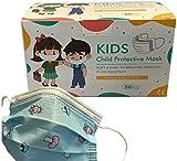 50x DECADE Kinder Jungen BLAU Einweg Maske Gesichtsmaske Vlies Einwegmaske Mundschutz Staubschutz mit Ohrschlaufen Farbe BLAU Atemmaske Atemschutzmaske