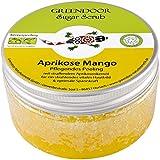 GREENDOOR Körperpeeling Sugar Scrub Aprikose Mango mit Provitamin A 230g, sanftes Zucker-Peeling ohne Farbstoffe Mikroplastik, Duschpeeling aus der Naturkosmetik Manufaktur, Body Scrub, Sauna-Zucker