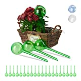 Relaxdays 24 x Bewässerungskugeln, Dosierte Bewässerung, 2 Wochen, Versenkbar, Topfpflanzen, Kunststoff, Bewässerungshilfe, grün