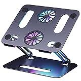 GAOSUR Laptop Ständer, Laptop Cooling Stand mit Lüfter, Aluminium Notebook Ständer Laptop Halterung Höhenverstellbarer Computer Laptop kühler Riser Kompatibel für 10'~15 Zoll Notebooks, Tablet