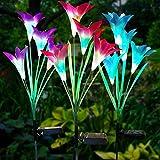 Solarleuchte Garten 3 Stück 8-Head Lilie Blumen Solarlichter mit Farbwechsel LED Außenbeleuchtung Solarlampen für Rasen/Terrasse/Weg (Weiß, Rosa & Lila)