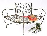 DanDiBo Baumbank Metall wetterfest Braun 135 cm 3-Sitzer halbrund JC112287 Gartenbank Rundbank