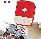FuninCrea Reise Mini Erste-Hilfe-Tasche Medizinische Tasche tragbare Mini-Erste-Hilfe-Set Aufbewahrungstasche für Medizin Leere Tasche für Sportcamping Wandern Outdoor-Aktivitäten Notfall (Rot)