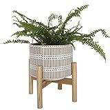La Jolíe Muse 14cm Sand glasierte Keramik für drinnen, Holzständer, Boho Stil, dekorativer Pflanzentopf für den Tisch mit Abflussloch, Inneneinrichtung Geschenk, weiß und Sandfarben