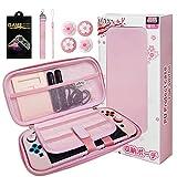HLRAO Rosa Tasche Kompatibel mit Nintendo Switch, Sakura-Design Hartschale, Solides Tragbar...