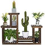 Yaheetech Pflanzenregal Holz, Blumenregal mit 4 Ebenen, Blumenständer Garten, Pflanzentreppe mehrstöckig, für Indoor Balkon Wohzimmer Outdoor Dekor 95x25x73 cm