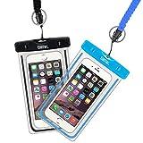 EOTW 2 Stück wasserdichte Handy Hülle, Wasser- und staubdichte Hülle für iPhone, Samsung, Nexus, HTC und mehr, Super Hülle für den Strand und Wassersport (Schwarz+Blau)