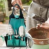 azurely Gartenwerkzeugtaschen, tragbare Garten-Einkaufstasche Tragen Sie Oxford Cloth Resistant Garden Tool Aufbewahrungstasche Organizer mit 8 Taschen