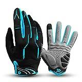 I Kua Fly Vollfinger Fahrradhandschuhe Männer Touchscreen Kompatibel MTB Handschuhe mit Gel für Herren Damen (Blau, L)