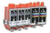 vhbw 10x kompatible Druckerpatrone Tintenpatrone Set für Canon PGI-35, PGI-35BK, CLI-36, CLI-36C.